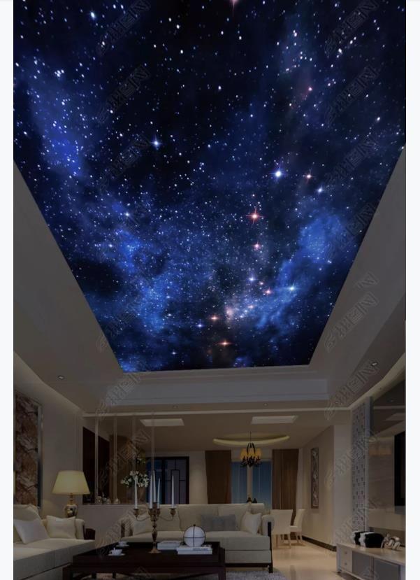 Custom 3D zenith seda papel tapiz mural decoración de la foto hermoso cielo estrellado HD imagen grande ensueño habitación de los niños zenith techo mural