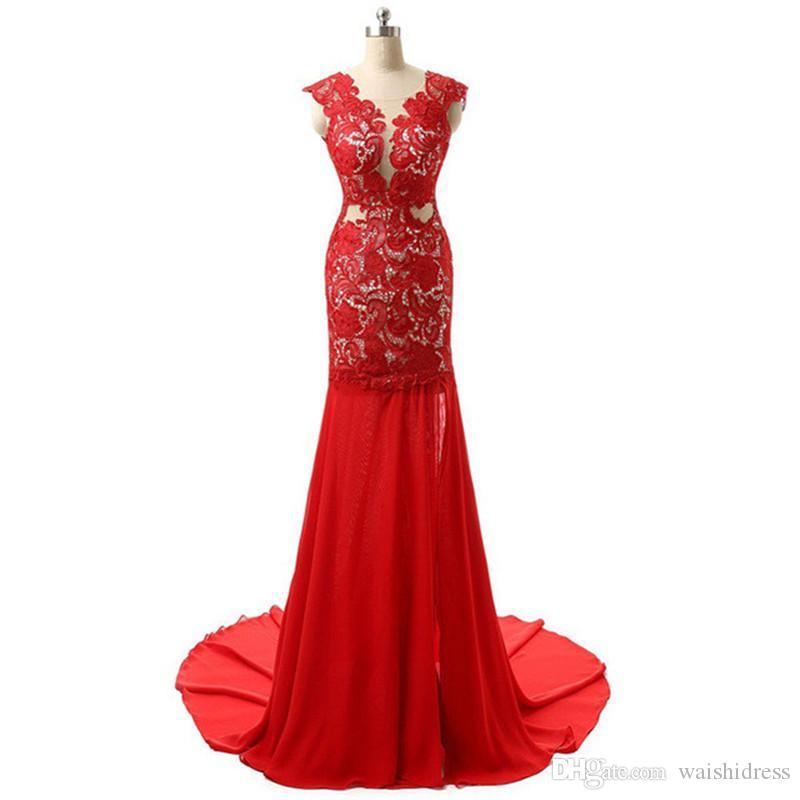 2018 Robes de bal rouge sexy en mousseline de soie pour le bal