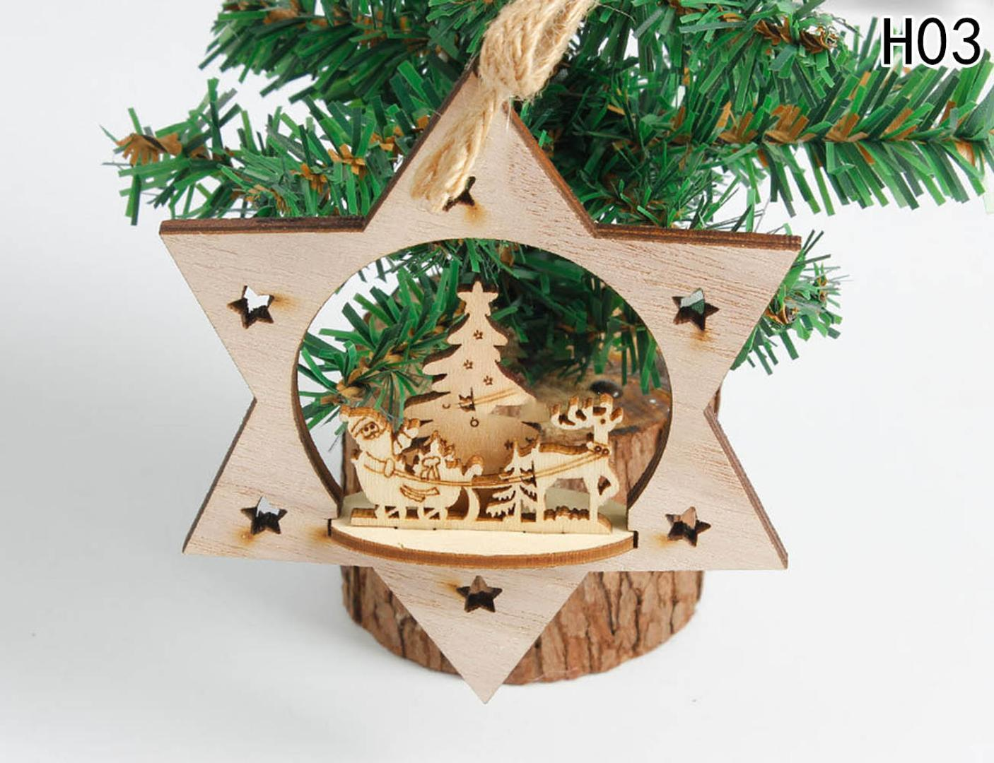 Christmas Decoration Wood Heart Tree Bell Hanging Decor Xmas Three-dimensional Decoration For Home Stereo Christmas Tree Pendant