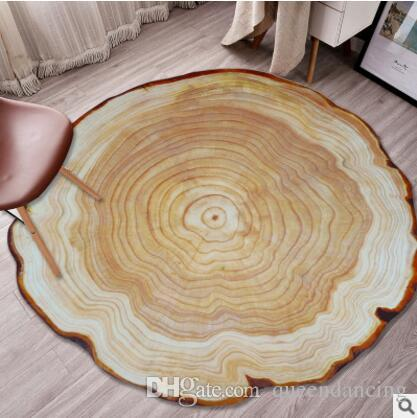 Anti-skid 3D Wood Log pattern Room Carpet Round shape Living Room Rug Bedroom floor Mat Computer chair foot pad annual ring Washable