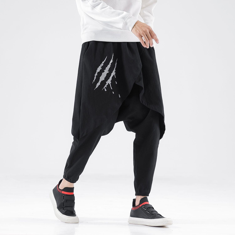 Januarysnow Homens New estilo chinês Hip Hop calças dos homens de impressão soltas calças masculinas solto Oversize Moda Vintage Pants 5XL