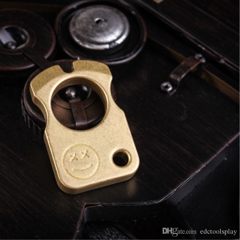 Handmade EDC Rolling Stone Solid Brass Key Chain Glass Breaker Outdoor Tactical Attack Defense Survival Tool Unhapy/