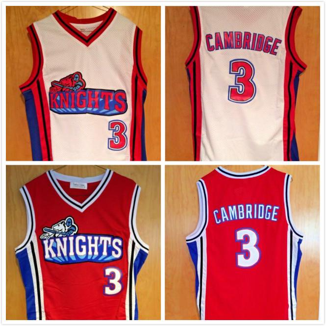 Jersey Cambridge # 3 Comme Mike La Knights Movie Basketball Jerseys Blanc Rouge Nom Nom Nom Logo