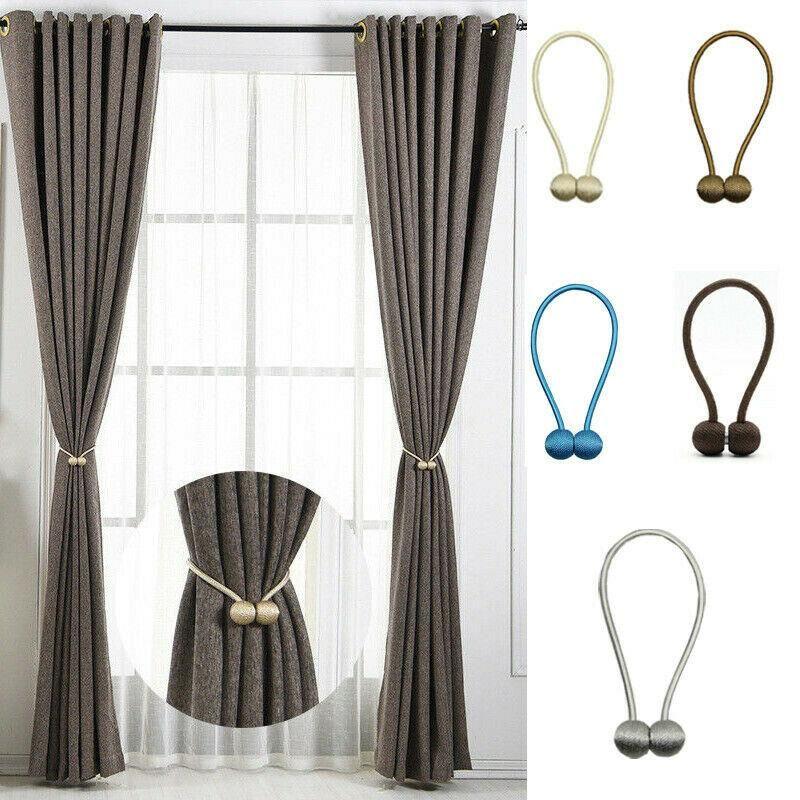 2Pcs Magnetic Curtain Tie Backs Tieback Buckle Holdbacks Clips Rope Home Decor