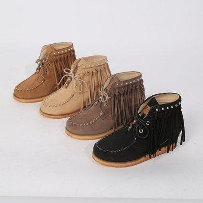 femininas Bohemian Roma quente botas antiderrapantes Tamanho Grande sólidos Salto cores Lace-Up Baixo planas Fringe Curto Botas Sapatos botas mujer