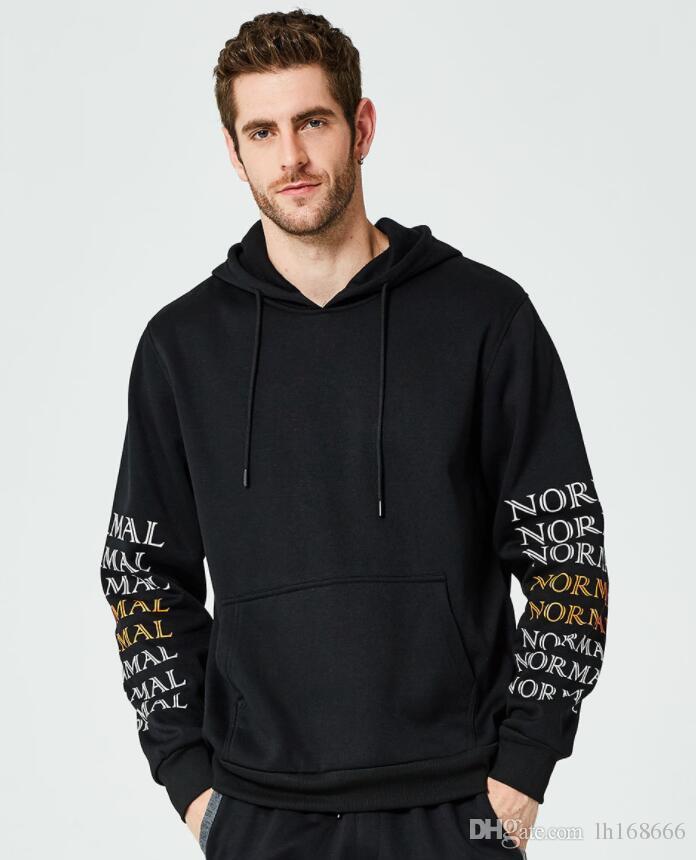 Sweat pour hommes côté lettre Sweatshirt Mode Automne Chaud Sweatshirt et Sweat-shirts en Coton Hip Hop Vêtements Taille EU