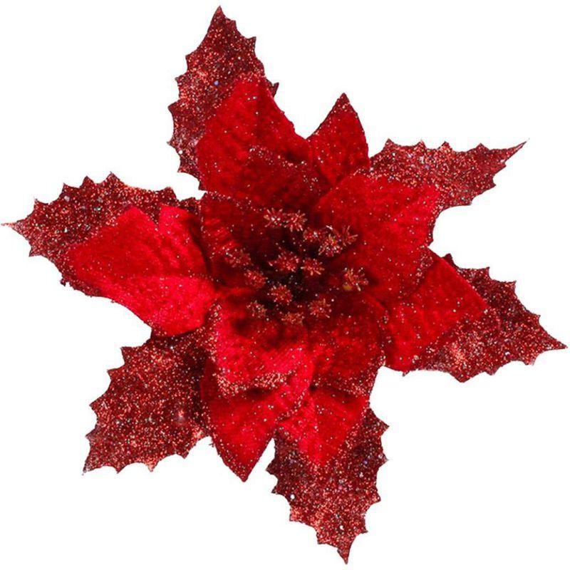 6Pcs 6,6 Inch Glitter Artificial Hochzeit Weihnachten Blumen Weihnachtsbaum-Kränze Dekor-Verzierung Weihnachtsbaum Ornamente H