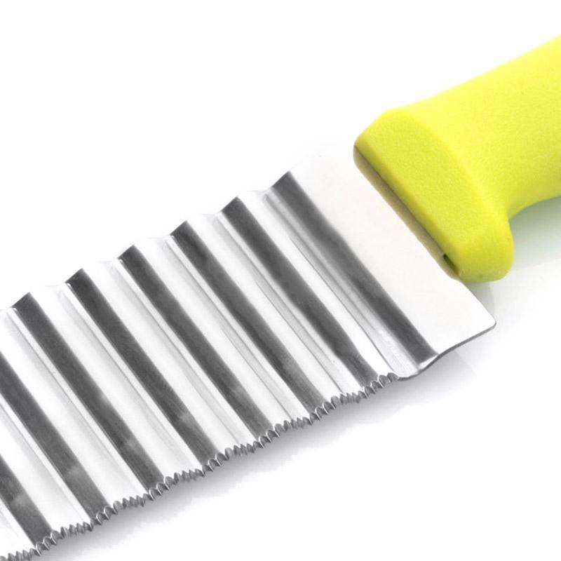 1PCS / Batata quente de aço inoxidável chips ondulado cortador de massa vegetal da dobra Slicer faca ondulado faca de cozinha Acessórios