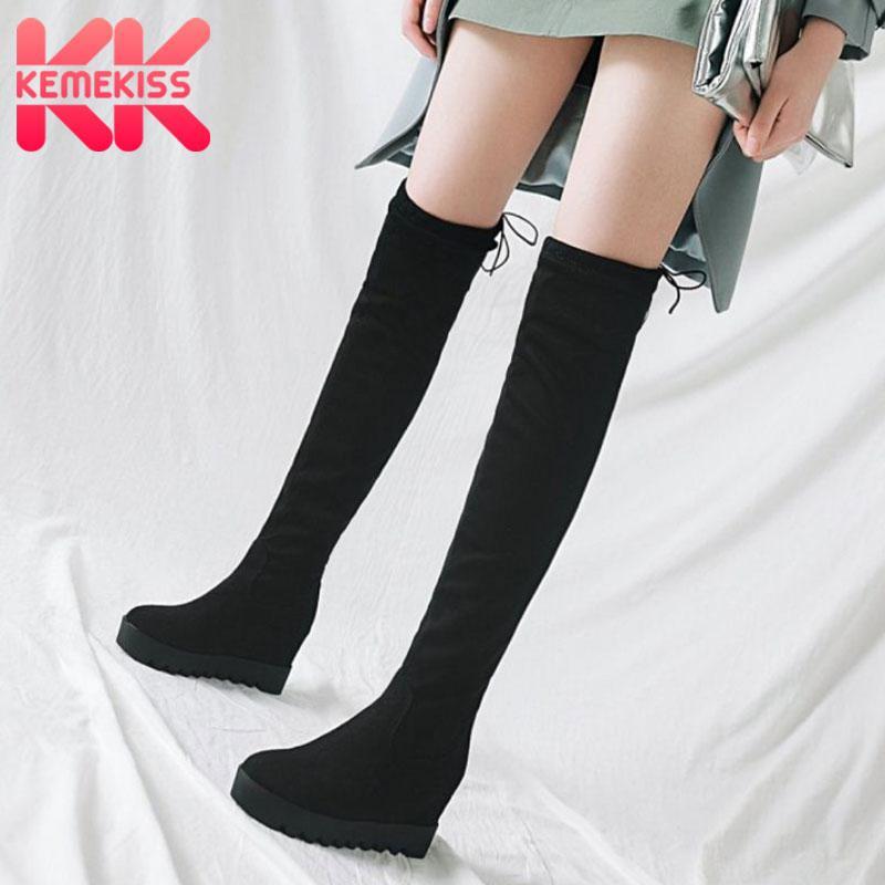 KemeKiss Women Thigh High Boots Fashion Stretch Shoes Women Casual Thick Sole Hidden Heels Winter Warm Long Boots Size 34-43