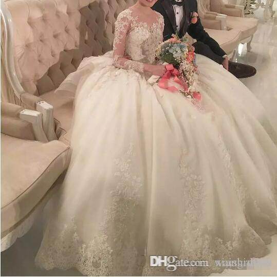 Waishidress бальное платье Длинные рукава Свадебные платья Sexy Sheer Иллюзия Jewel Аппликация Кружева Свадебные платья Длинные платья невесты