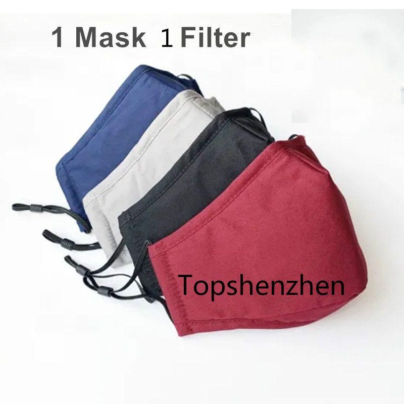 Designer Masques réutilisables Masques poussière lavable Filtre à charbon de protection individuelle Reuseable Paquet anti-poussière Coton Fack Masque En stock