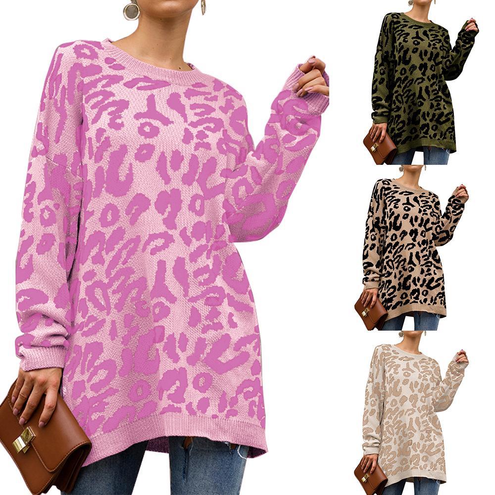 2019 Outono Leopardo Pullovers Camisolas De Malha Mulheres Inverno Quente Streetwear Casual Impresso Solto O Pescoço Longo Camisola Feminina