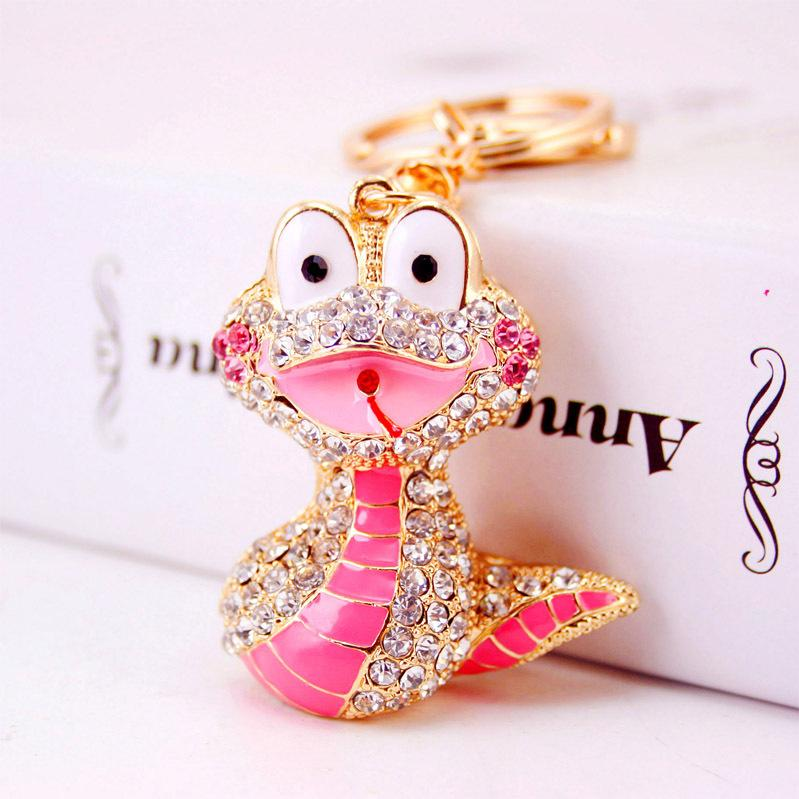 Yaratıcı şirin damlayan yağ zanaat küçük bir hediye Burç Yılan anahtarlık karikatür hayvan, metal kolye anahtarlık