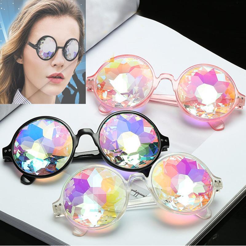 Retro Geometric Kaleidoscope Sunglasses Men Women Sunglasses Rainbow Lens Eyewear Festive Party Supplies Christmas Gift WX9-948