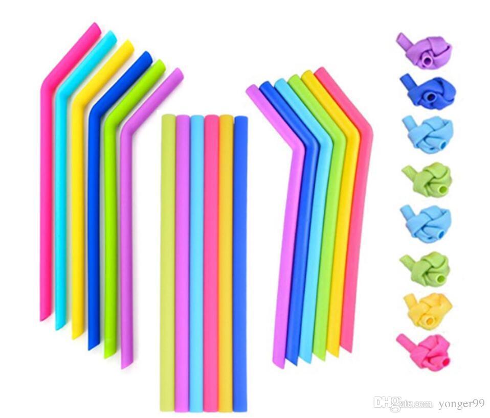 Barco de colorido recto para pajitas Pajas de calificación de calificación de silicona Tazas de silicona 25 cm de bar para alimentos para la comida bebiendo sin silicona Glogb