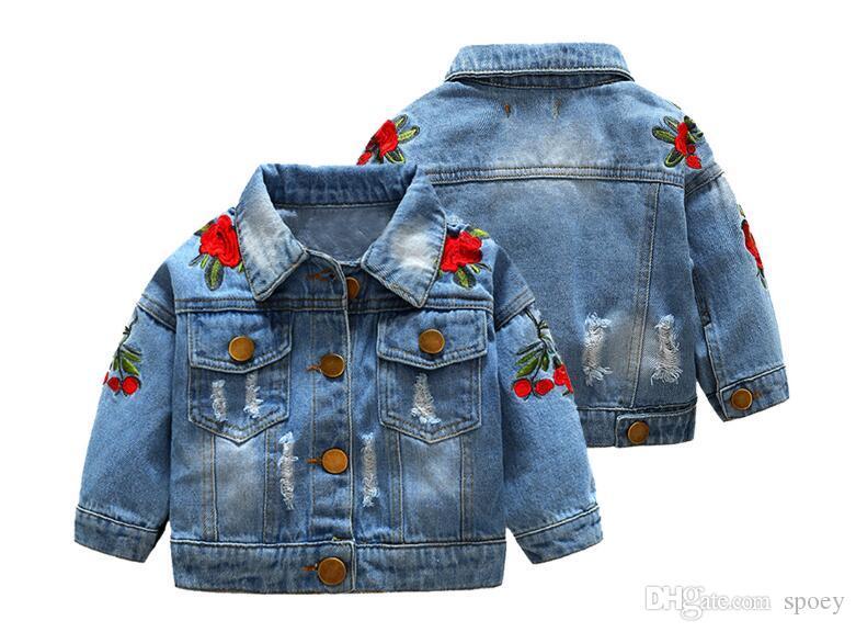 Niña con cazadora cortaviento chaqueta bordado Rose niño ropa de diseñador ropa del otoño material de la ropa vaquera diseño de la cintura estilo británico 3