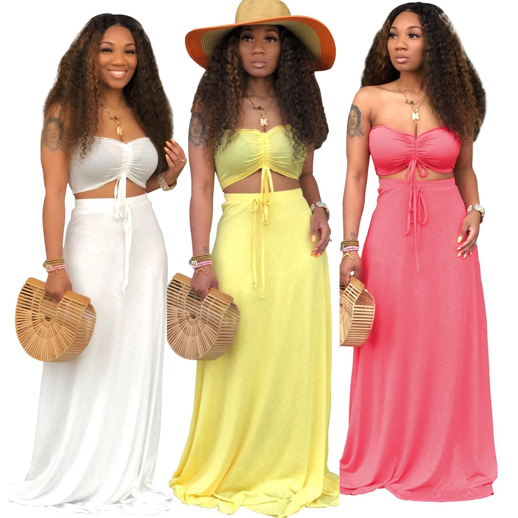 Casual 2 Peça Set Cor Sólida Mulheres Bandage Shorts Tops Colheita + Longo Vestido de Praia Roupas de Treino