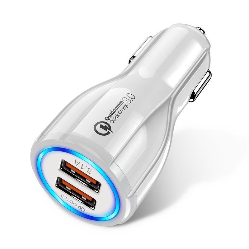 شاحن 18W الإضافية 3.1a سيارة الشحن السريع 3.0 عالمي ثنائي USB شحن سريع QC للحصول على سامسونج XIAOMI هواوي ممن لهم موبايل