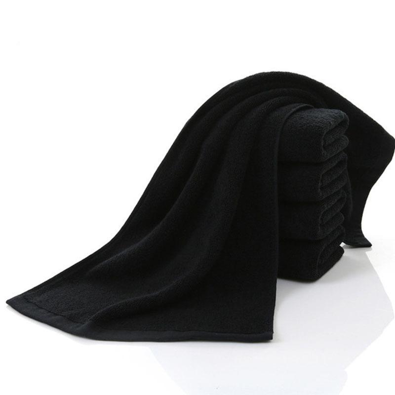 QQPQGG puro cotone Telo non sbiadiscono Nero Parrucchiere Salone di bellezza ispessite assorbente Nero Asciugamani Asciugamano Set Home Spa