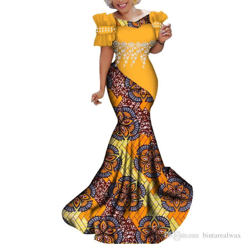 Модные Африканские Платья Женщин Длинные Платья Партии Традиционный Африканский Принт Белый Жемчуг Кружева Цветок Базен Riche Леди Платье WY284
