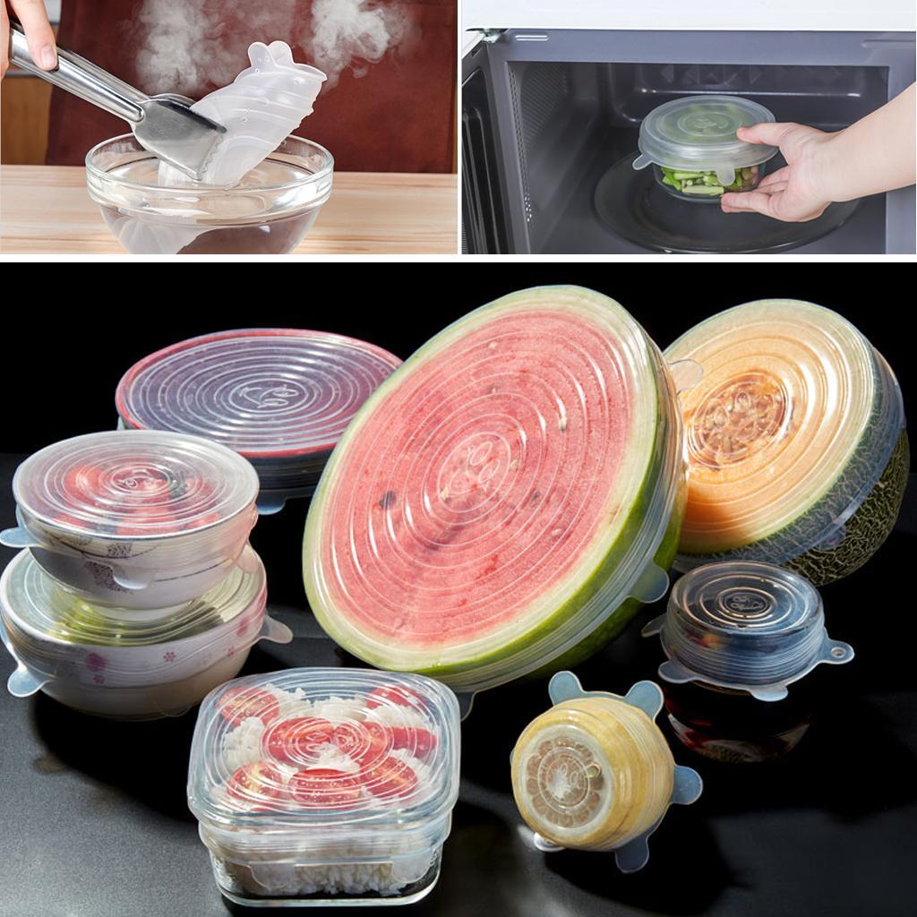 6 Pcs extensible en silicone emballage alimentaire Couvercles réutilisable Airtight alimentaire Covers Wrap Garder ustensile Seal frais bol Batterie de cuisine