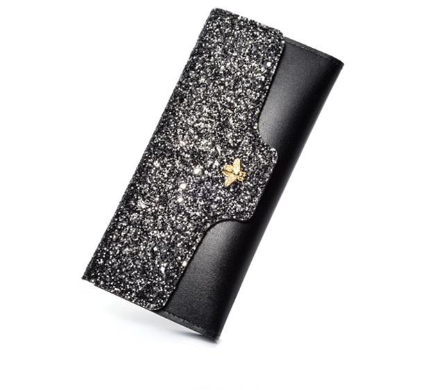 New multi-function bee women long style designer wallets lady zipper casual fashion purses female popular clutchs black/pink/blue/burgundy