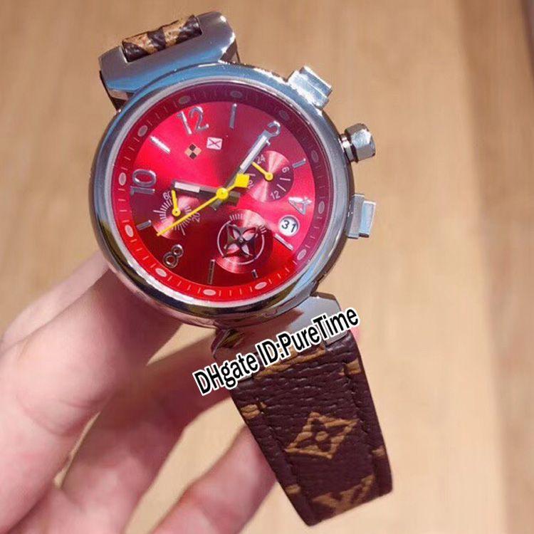 Yeni Q13250 Çelik Kılıf Kırmızı Arama Japonya Kuvars Chronograph Bayan İzle Kahverengi Deri Kayış Bayan Bayanlar Saatler Kronometre Puretime F02B2