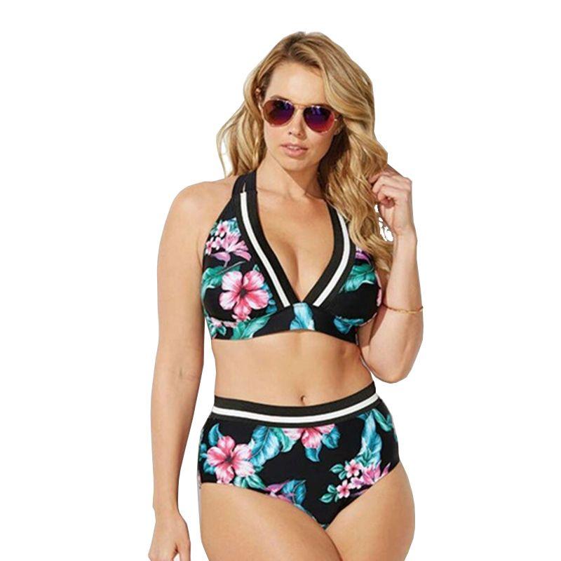 Sexy spinge verso l'alto lo swimwear vita alta Grande Bikini Swimsuit Plus Size Grande tuta Taglie Due delle grandi donne separate per Fat