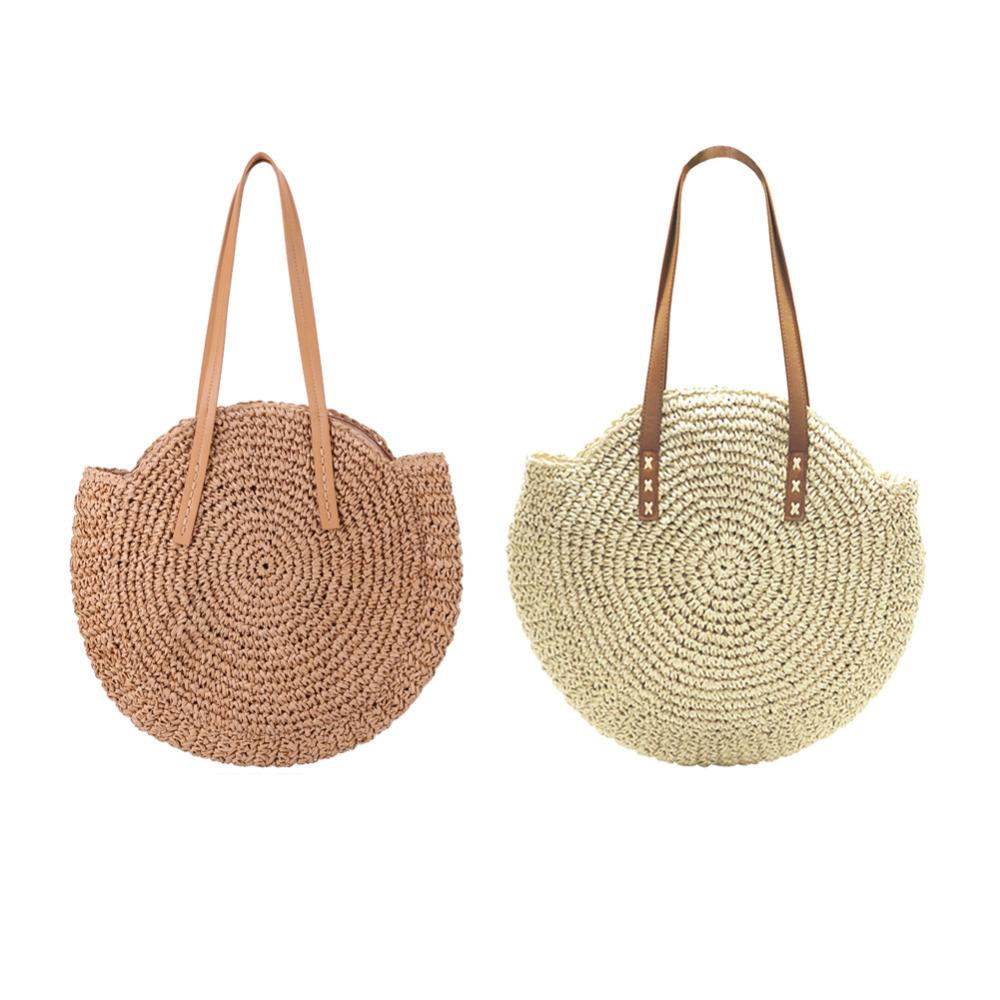 Beach Bag Handbag Straw Woven with Zipper for Women and Girls