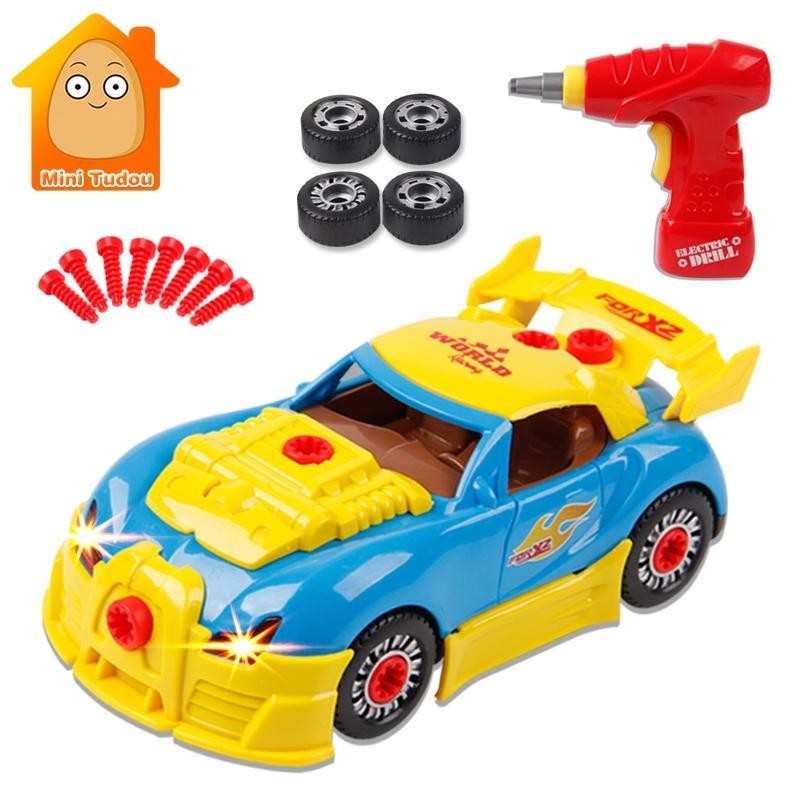 Enfants Vis Toy blocs de construction Pièces de voitures Constructor avec une perceuse électrique Lumière son outil créatif enfants Jouets éducatifs Y200111