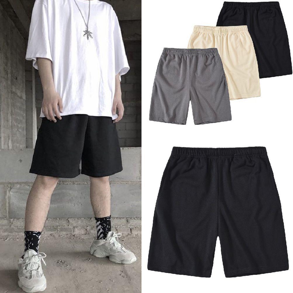 Alta Streetwear Kanye Estilo cor sólida Terry Cotton soltas Shorts Praia suor de verão comprimento do joelho confortáveis calças casuais
