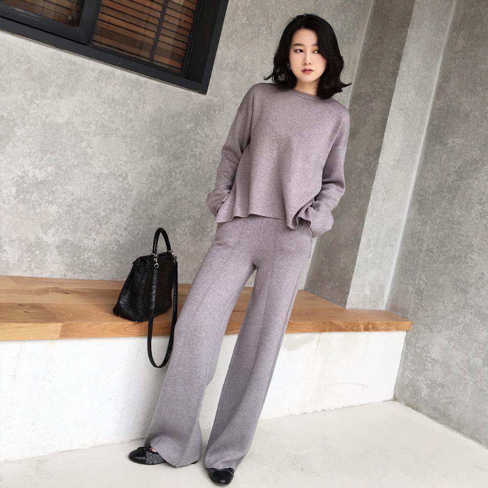 Mulheres sweater terno e define Casual Camisolas tricotadas 2 Pants Pedaço Set Suits Casual Malha Calças + Jumper Tops Roupa Set