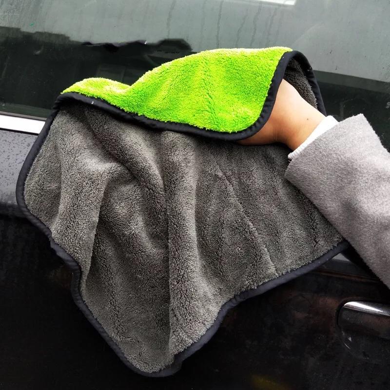 Nueva doble cara toalla de microfibra de lavado de coches lavado en seco toalla gruesa de poliéster felpa tamaño de la limpieza del coche de fibra de tela de mantenimiento de autos 30 * 40