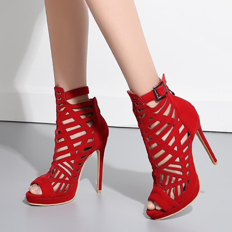 SARAIRIS Peep Toe fibbia Zipepr sandali degli alti talloni delle donne dei pattini scava fuori i sandali delle signore del partito Prom solidi t02