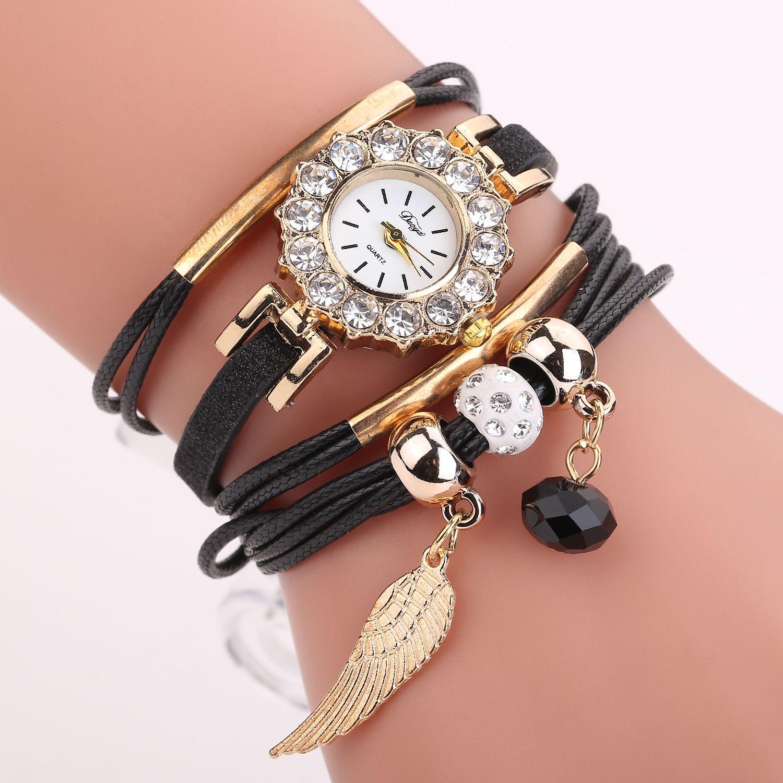 New Hot Selling High Quality Women Bracelet Circle Fashion Diamond Beaming Wings Pendant Fashion Quartz Watch