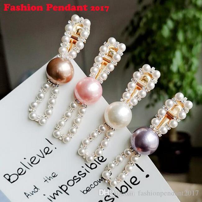 Fashion Romantic Pearl Bangs Clip Hairpin Women Girls Hair Clips Clamp Barrette Accessories for Girls bow Metal Hairgrip