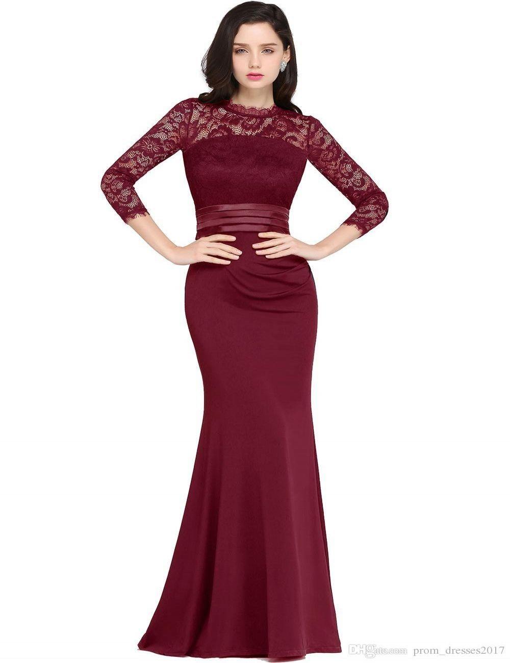 Wine Red Mermaid Longo Vestidos Satin Lace O pescoço Zipper-Up até o chão Vestidos Noche Prom Vestidos
