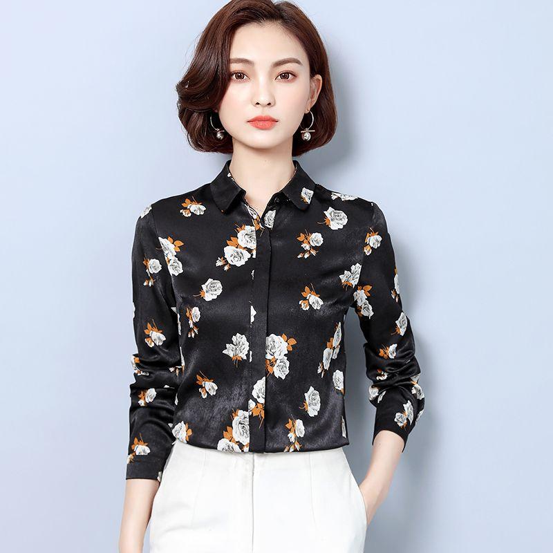 Pista floreale nero di qualità della camicia in raso di seta a maniche lunghe Donne risvolto collo signore eleganti Button camicetta Plus Size ufficio Camicie Designer Tops