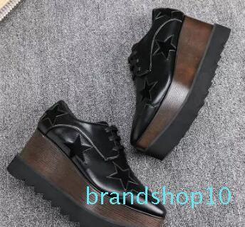 Nouvelle arrivée marque italienne Stella McCartney Chaussures Femmes Chaussures causales femmes Etoiles Wedges cuir véritable plate-forme Semelle extérieure DDF-3