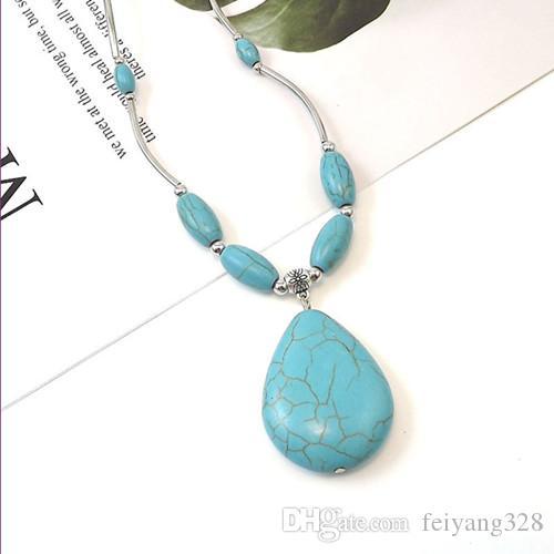 En gros 10 pcs pendentif argent Pendentif lien Chaîne Chaîne Collier eau goutte à eau Vert Turquoise Stone Charm Bijoux