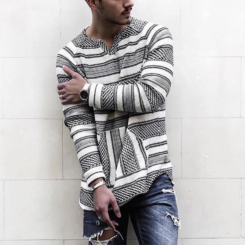Manches longues Casual Hauts Hommes Taille Plus ressort en vrac T-shirts pour hommes Designer T-shirts à rayures Mode