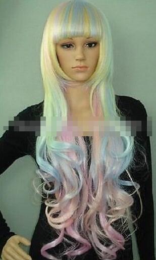 SPEDIZIONE GRATUITA + parrucca riccia cosplay di nuova moda lungo blu rosa giallo misto Cosplay