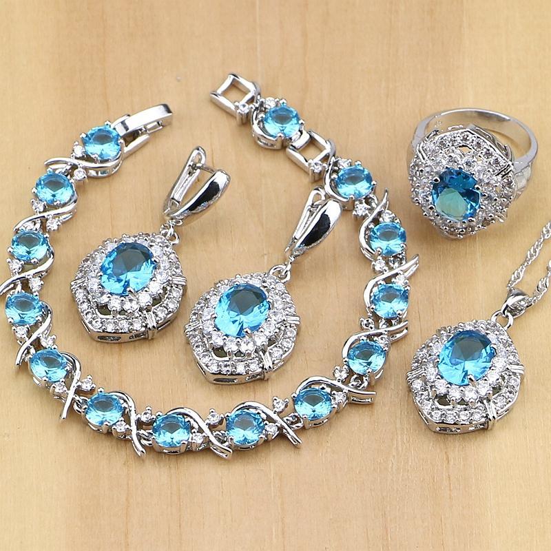 Set partito delle donne 925 monili d'argento blu Cubic Zirconia CZ bianca orecchini / ciondolo / collana / anelli / Bracciale