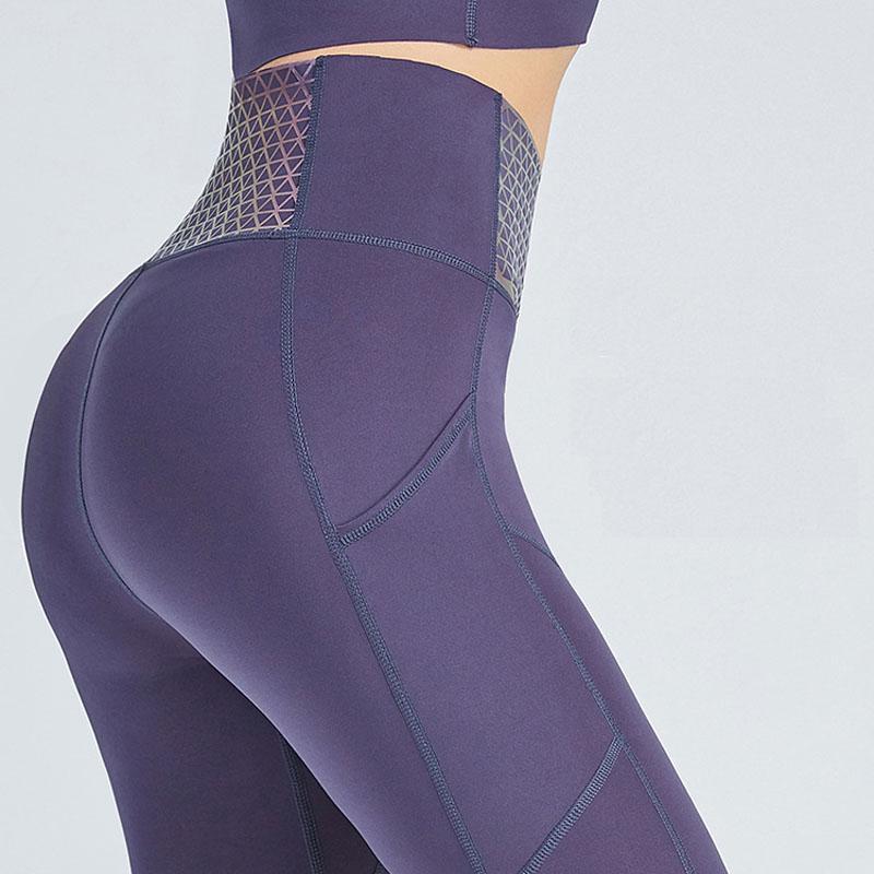 Yoga Gamaschen mit Taschen-Shinning mit hoher Taille Fitness Hosen Frauen-Geschwindigkeit Dry Nachtlauf 360 Grad Reflektierende Sporthose