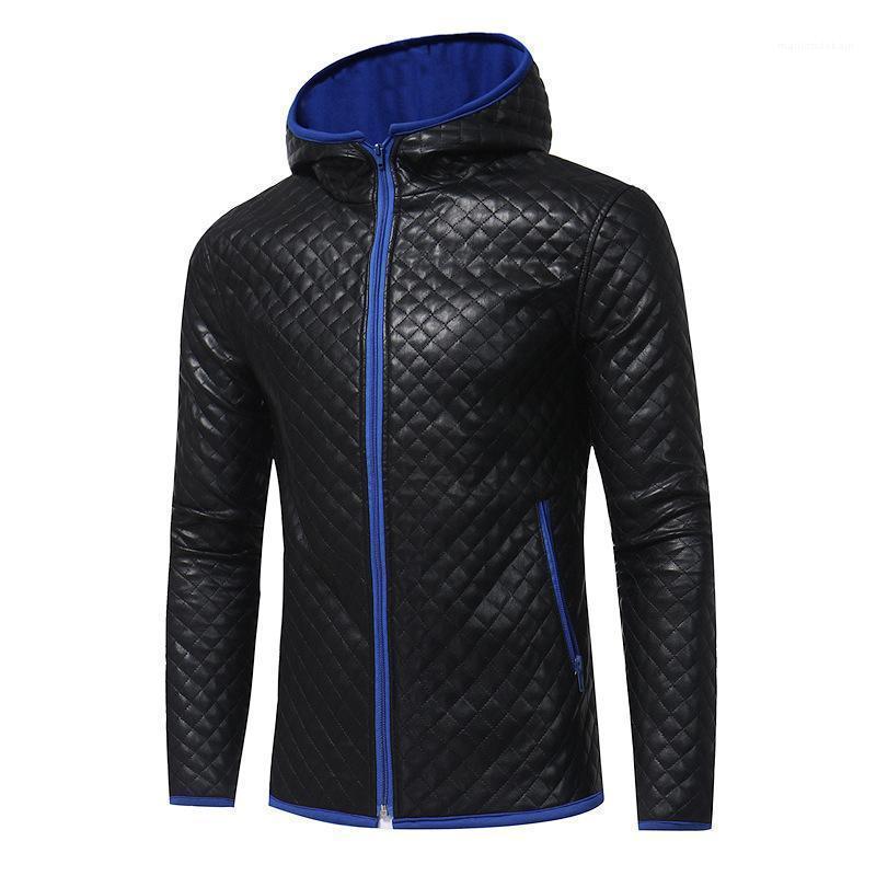 Farben Kontrast mit Kapuze warme dünne Passend Jacke Plaids Entwurfmens Designer Wintermäntel Hommes Männlich