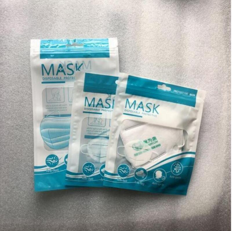 Máscara Bags Retail plástico Zipper Bloqueio Bag Com Pendure buraco para Máscara OPP Embalagem Bag IIA11