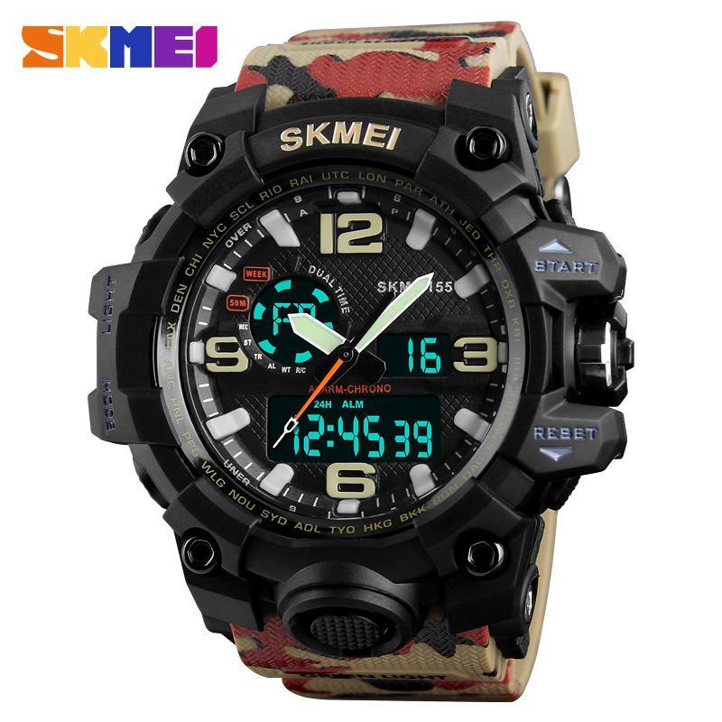 Camouflage Uhren Army Military Watch Männer Sport Herrenuhren Top-Marke Luxus Uhr Digital Quarz Wasserdicht Relogio Masculino Y19051603