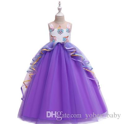 unicorn tutu customes fashion baby kids gown Girls lace princess dress children mesh long skirt wedding flower girl pettiskirt girls frocks