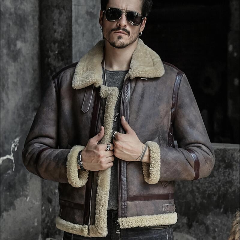 Herren echtes Leder Jacke Mann Schaffell Jacken Mantel kurze Bauweise Herren Vintage Echtleder Pelzmäntel Oberbekleidung Winter Retro