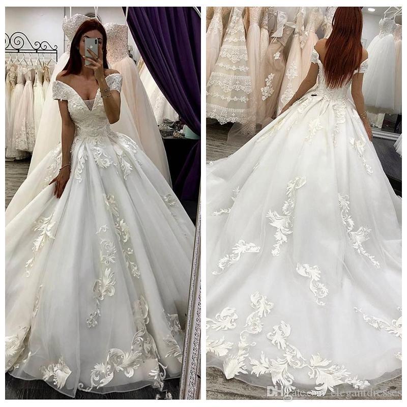 Off Shoulder Lace Appliques Wedding Dresses Formal Bandage Back 2019 Princess Bridal Gowns Formal Long Vestidos De Mariee